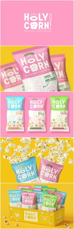 Brand and Packaging Design Concept for Healthy and Tasty Popcorn  Design Agency: Openmint Brand / Project Name: HolyCorn! Location: Russia Project Category: #Confectionery #Snacks  World Brand & Packaging Design Society