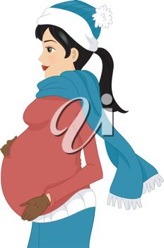 Illustration of a Pregnant Girl Wearing Winter Clothes