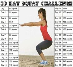 30-Day Squat Challenge Chart | 30 Day Squat Challenge | Weddings, Weight Loss and Health | Wedding ...