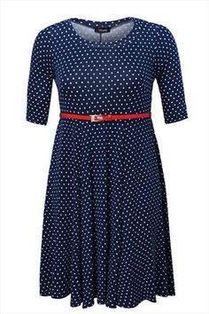 Navy spotted flare dress with adjustable belt
