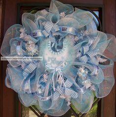 SaLe SaLe Deluxe It's A Boy Baby Deco Mesh Wreath SaLe SaLe. $55.00, via Etsy.