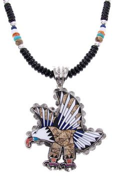 Picture Rock Multicolor Eagle Sterling Silver Pendant And Necklace Set MW67035