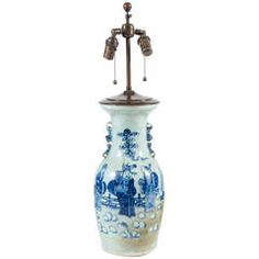 19th Century Chinese Export Blue and White Baluster Vase Table Lamp