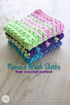 Felted Button - Colorful Crochet Patterns: Mama's Wash Cloths--Free Crochet Pattern The Effective Pi Crochet Potholders, Manta Crochet, Crochet Home, Knit Or Crochet, Crochet Gifts, Crochet Baby, Free Crochet, Dishcloth Crochet, Simple Crochet
