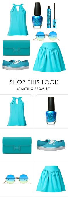"""Light blue"" by stacy-may-1 ❤ liked on Polyvore featuring Trina Turk, OPI, Hermès, Vans, Illesteva, Moschino and Barry M"