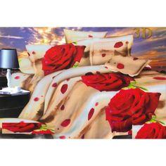 Béžové 3D obliečky na posteľ s červenými ružami