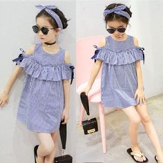 Babies summer dresses Blue Striped Off-shoulder ruffles Party Gown Formal Dresses Emporiaz Hot Summer Toddler Kids Baby Girls lovely Clothes Little Girl Fashion, Toddler Fashion, Kids Fashion, Fashion Outfits, Dress Outfits, Fashion Black, Fashion Fashion, Vintage Fashion, Baby Summer Dresses