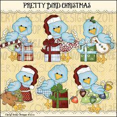 Pretty Birds Christmas 1 - Clip Art by Cheryl Seslar : Digi Web Studio, Clip Art, Printable Crafts & Digital Scrapbooking!