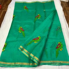 *Pure Silk Kota Embroidery Saree With Running Blouse*  ₹2950+$ Order what's app 7093235052