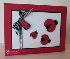 hand made card ... Punch art ladybugs ... cute X 3!!