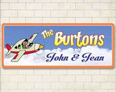 $39.95 Cartoon Airplane, Custom Personalized Sign, Kids Room