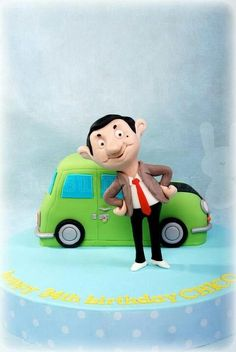 Mr bean cake from the Bunny Baker Mr Bean Cake, Bean Cakes, Mr Bean Birthday, Birthday Cake, Mr. Bean, Biscuit, Funny Cake, Character Cakes, Fondant Toppers