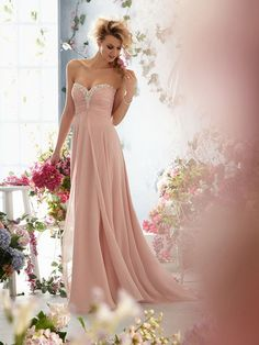 Dusty Rose Sweetheart Chiffon Evening Gowns at buytopdress.com