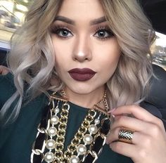 accessories, beautiful, beauty, blonde, blonde hair, blue eyes, curly hair, dark lipstick, dark red, fashion, glamour, gold, gorgeous, hipster, luxury, pearls, red, silver, snow, style, teenager, we heart it, white, 2016, demature