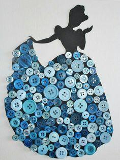 Vos enfants sont fans de Disney et adorent les princesses... Voici une création spécialement pour eux. Princesse Disney décorées avec des boutons de couleurs sur une toile de 25 cm * 25cm. N'hésitez pas à me contacter pour que je réalise la princesse qui fera plaisir à vos enfants!