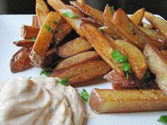 """Gluten-Free Fries with Smoked Aioli: """"I love the texture of these fries, and the aioli is the most amazing complement. I may never eat fries with ketchup again! Best French Fries, Making French Fries, French Fries Recipe, Hand Cut Fries, Aioli Sauce, Fried Fish Recipes, Potato Dishes, Potato Recipes"""