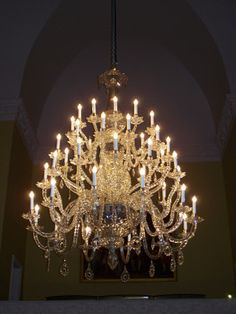 Cut glass chandelier, designed by Jonathan Collett in 1771 and made up from pieces salavaged from the five original unsafe chandeliers made for the Ballroom. Converted to electric.