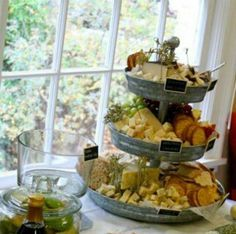 Beautiful food display - we were obsessed with the galvanized 3 tier stand full of meats, cheeses, nuts, fruits & chalkboard signs