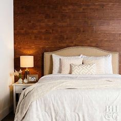 See how to get this stunning wood wall in your bedroom - or any room in your house.