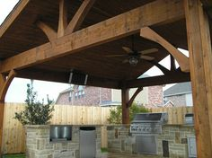 outdoor covered patio design | Custom Wood Patio Cover With Outdoor Kitchen #126 - Lone Star