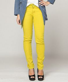 Look what I found on #zulily! Yellow Bright Skinny Jeans by Hudiefly #zulilyfinds