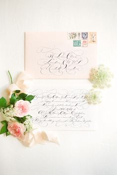 Calligraphy & stationery: MOIRA DESIGN STUDIO - Romantic Cottage Garden proposal shoot by Wedding Sparrow (Styling and Planning) + Emma Wyatt Photography - via Magnolia Rouge
