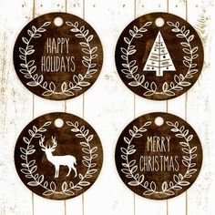 Rustic Christmas labels free printable labels