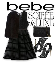 """Soirée de Luxe with bebe Holiday: Contest Entry"" by terasasmith ❤ liked on Polyvore featuring Bebe, Chanel and Givenchy"