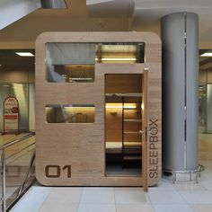 Russian architects Arch Group have completed the first of their tiny hotel rooms for napping at airports. The Sleepbox unit at Moscow's Sheremetyevo airport contains two beds and can be rented for between 30 minutes and several hours. The pod is equipped with LED reading lamps as well as sockets for charging laptops and mobile phones.