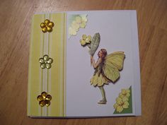 Handmade 3-D decoupage Flower Fairy greetings card