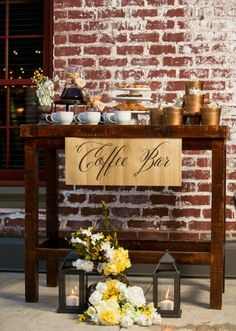 Coffee bar by Erica Weddings. Catering by Catering Kitchen. Ground florals by Ceremonial Blessings. Photo by Jesse Reich Photography. #wedding #coffeebar #catering