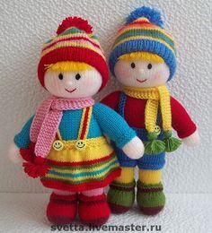 """Купить """"Двойняшки"""" вязаные куклы - вязаная кукла, кукла, девочка, мальчик, брат, сестра, двойняшки"""