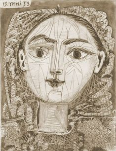 "Pablo Picasso - ""Portrait of Françoise to the fuzzy hair"", 1953Pablo Picasso - More Pins Like This At FOSTERGINGER @ Pinterest"