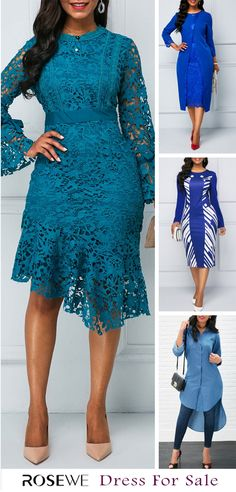 long sleeve blue mid calf Dresses For Women Online Shop Free Shipping 0154c2c651