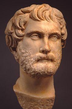 A man, head of Roman statue (marble), 2nd century AD, (Milwaukee Art Museum).