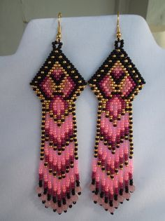 Seed Beaded Native American Style Earring by BeadedCreationsetc