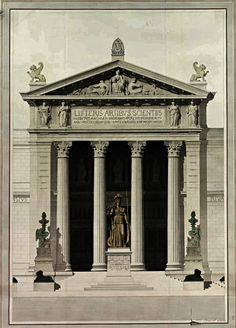 Athenaeum for a Capital Adrien Pierre Anthelme Chancel. French pen and watercolor. Detail Architecture, Architecture Antique, Neoclassical Architecture, Ancient Greek Architecture, Classic Architecture, Architecture Drawings, Historical Architecture, Architecture Diagrams, Architecture Portfolio