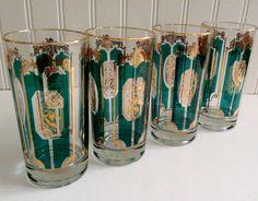Vintage Highball Cocktall Glasses / Emerald Green Gold/ Mad Men Cocktail Glasses/ Designer/ Retro Entertaining/ Vintage Barware.