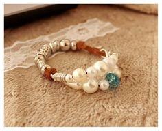 Beaded Suede Leather Silver Infinity, Set of Two Bracelets, Light Brown, White Pearls, Blue Crystal, Silver Beads - Boho Bracelets - For Her