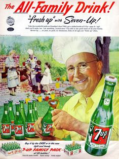 """1952 Ad, """"The All-Family Drink! Retro Ads, Vintage Ads, Vintage Posters, Vintage Menu, Vintage Picnic, Vintage Food, Old Advertisements, Advertising Poster, Old Magazines"""
