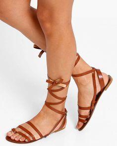 Buy BROWN AJIO Gladiator Tie-Up Flats
