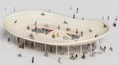Bicycle club by NL Architects, a concept for a velodrome located on the roof of a cycle shop in southern China.