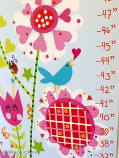 Flower Garden Growth Chart for Kids by TBoneSquid on Etsy Kids Room Accessories, Charts For Kids, Unique Jewelry, Handmade Gifts, Garden, Flowers, Etsy, Handcrafted Gifts, Hand Made Gifts