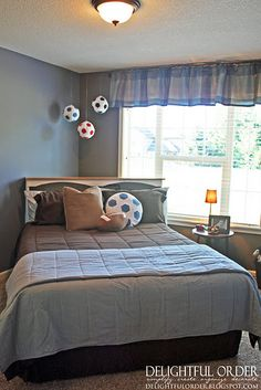 Sports Room @amanda Toups cute idea for Hayden... Maybe not the soccer balls but simple