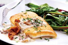 Halibut With Chanterelle Cream Sauce recipe - Canadian Living Shellfish Recipes, Seafood Recipes, Gourmet Recipes, Cooking Recipes, Dinner Recipes, Cooking Fish, Dinner Ideas, Fish Dishes, Seafood Dishes
