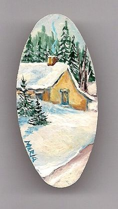 Around the Corner Cozy Cottage Scene. Original Miniature Hand Painted Wearable Art Pin. Acrylic on Wood.