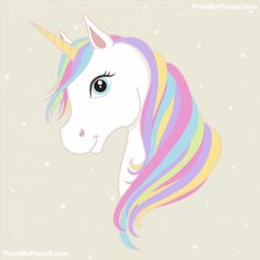 White unicorn vector head with mane and horn. Unicorn on starry background. poster ) ) White unicorn vector head with mane and horn. Unicorn on starry background.