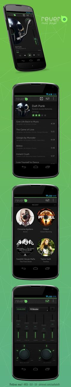 Reverb - Music App concept design for Android mobiles.  by Asgar khan, via Behance *** #android #app #gui #ux