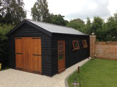 If you are interested in purchasing a Poultons Garage. Wooden Carports, Wooden Sheds, Wooden Garages, Shed Design, Garage Design, Black Shed, Painted Shed, Timber Garage, House Extension Design