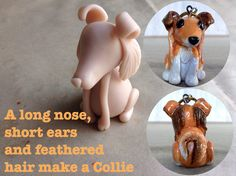 I have been working on polymer clay sculpted dog breeds. These make Pur-fect Christmas ornaments and I was going to post these for Christmas but I ran out of time. Polymer Clay Cat, Polymer Clay Ornaments, Clay Cats, Rough Collie, Dog Crafts, Clay Animals, Feathered Hairstyles, Clay Ideas, Ears